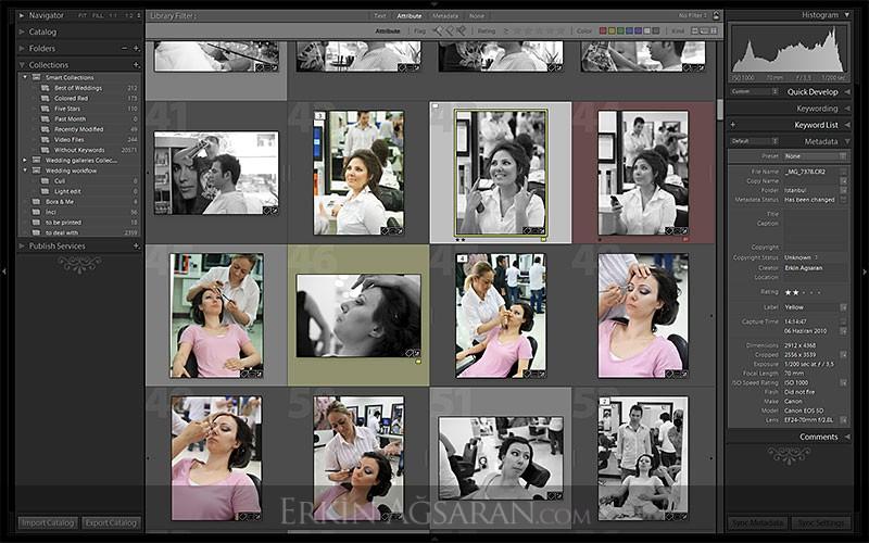 Lightroom grid ekranında seçilmiş fotoğraflar