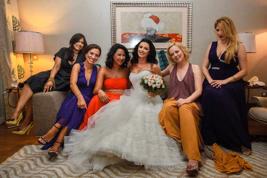 Bride and bridesmaids at destination wedding in Turkey, Hilton Dalaman