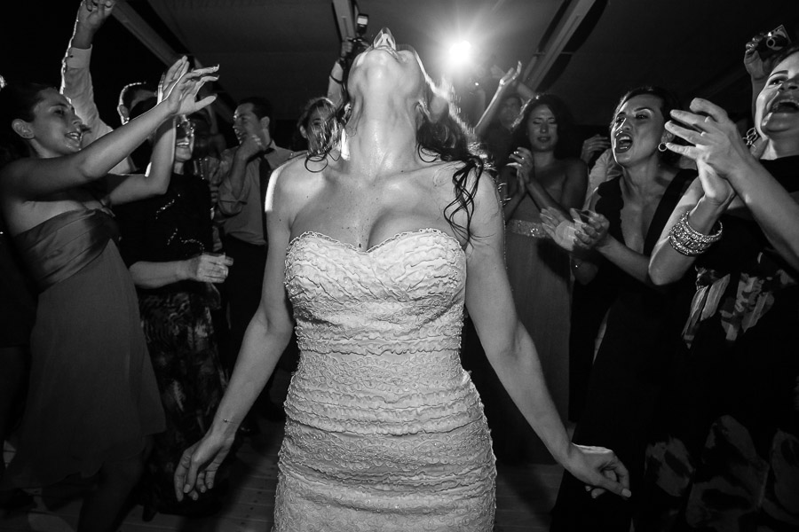 Bride having much fun on dance floor