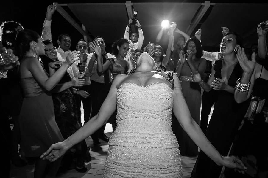 Bride dancing among her guests