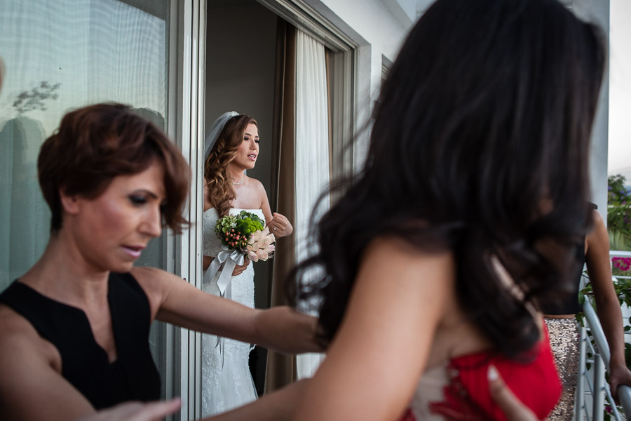Bodrum Wedding bride stepping out to balcony