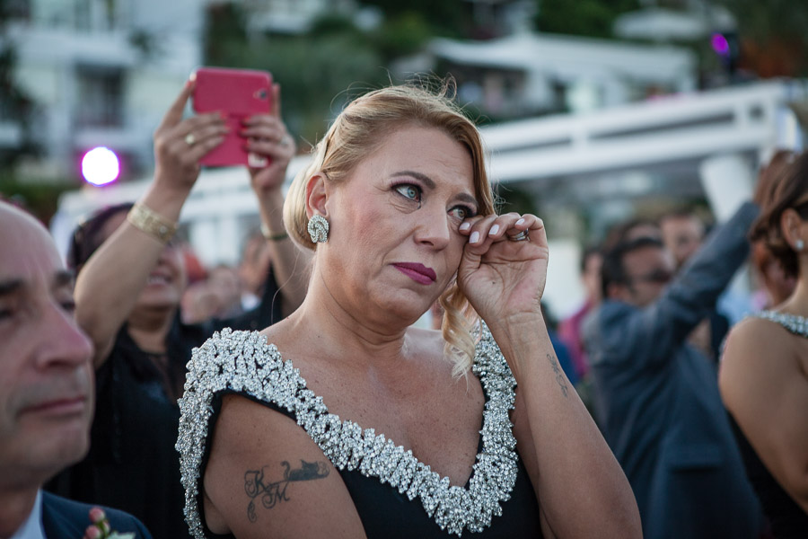 mother of bride crying during ceremony casa costa Bodrum Wedding