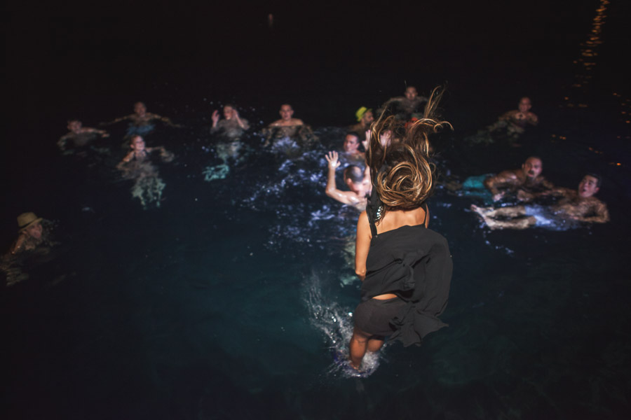 guests jump to water at Bodrum Wedding