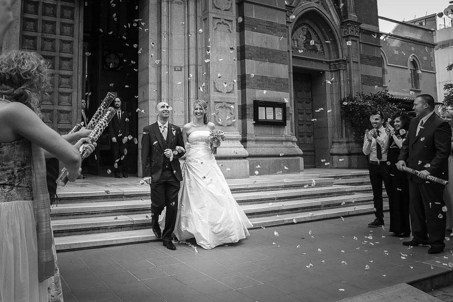 Bride and groom leaving st antoine church