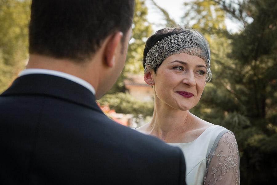 bride getting emotional at Casa Lavanda wedding