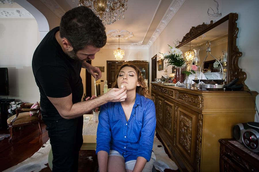 bridal having her makeup done