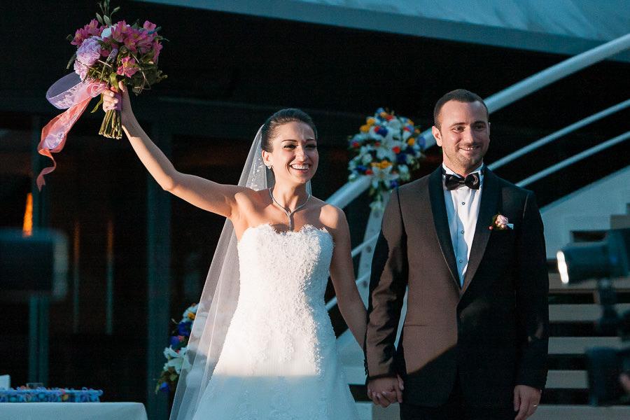 Bride and groom enter at Moda Deniz Kulubu wedding