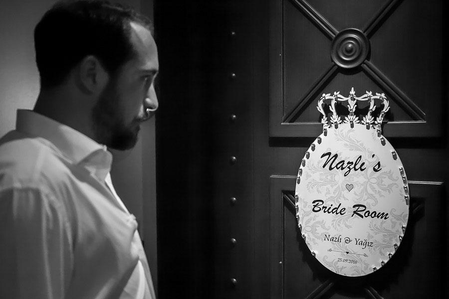 Groom at brides door