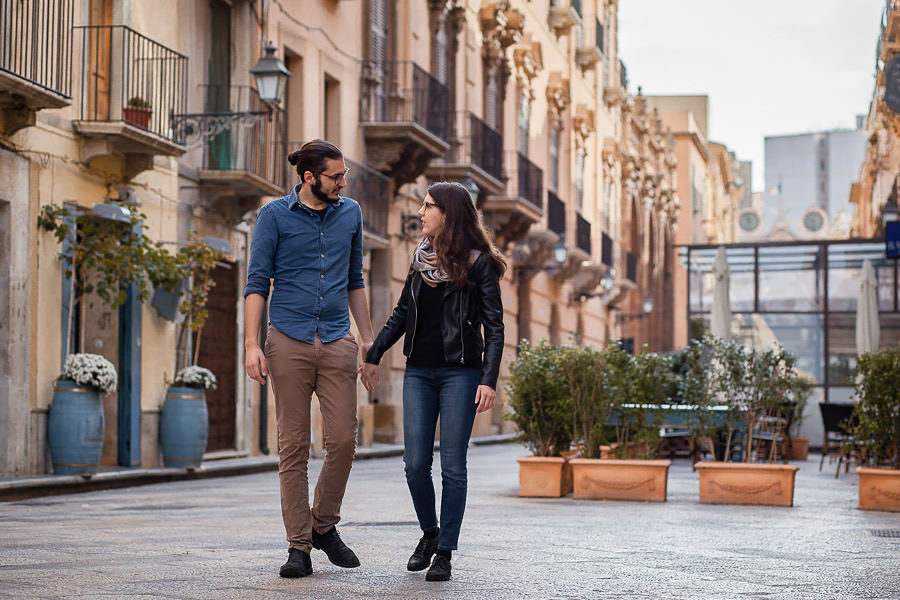 couple on streets of trapani sicily