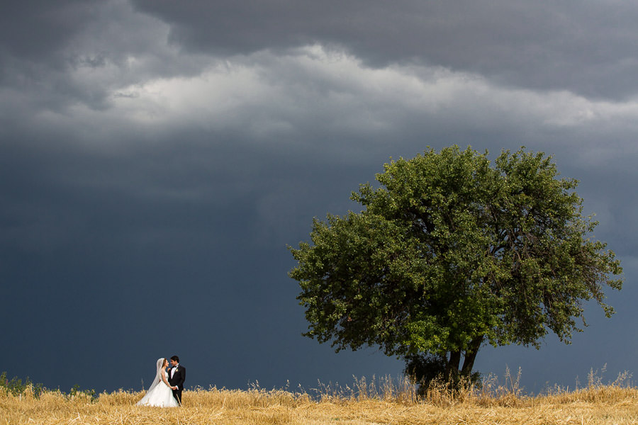 Bride and groom and lone tree on hill while storm approahing