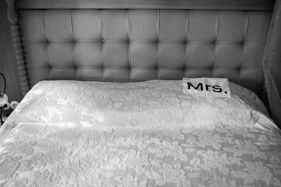 bride's towel on bed