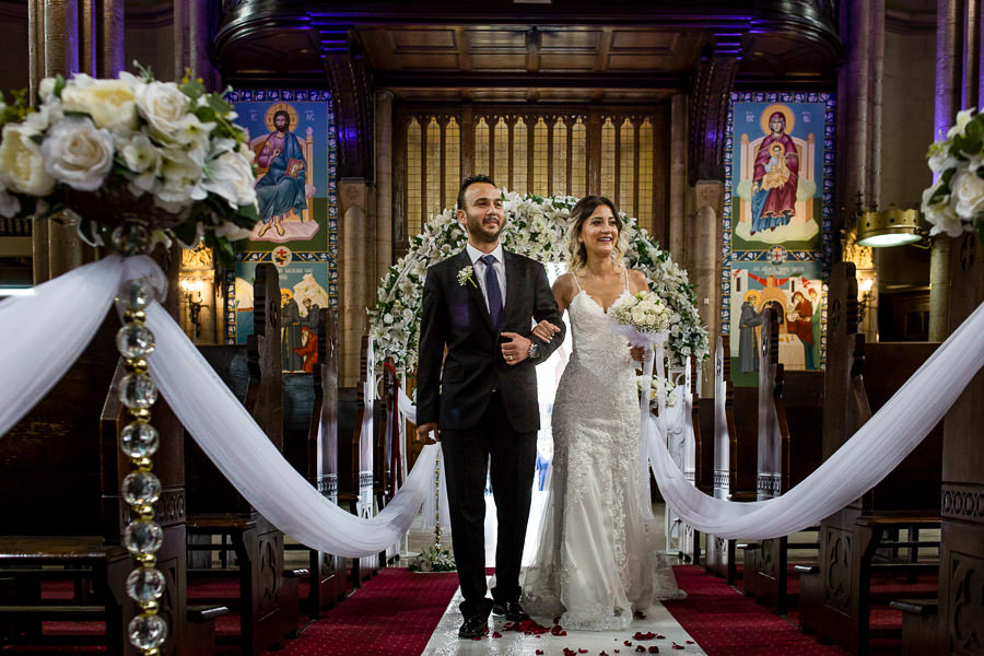 walking down the aisle at istanbul st. anthony of padua wedding
