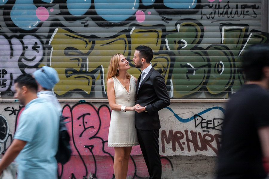 galata wedding photos on street with graffiti