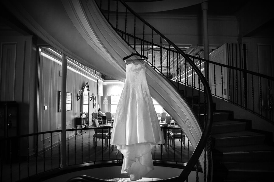 wedding dress hanging off the stairs at Bosphorus Palace hotel